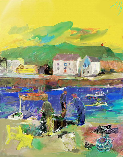 Fishermen on quay limited edition  fine art print