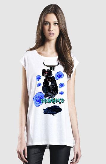 215 EP43 Womens Tencel Blend Vest Cowboy and Roses Design