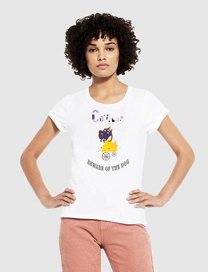 215 EP12 Womens Rolled Tee Shirt Beware of The Corvid Design