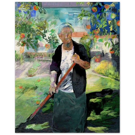 Old lady gardener by david winter art. Wood Print on 20mm thick wood block