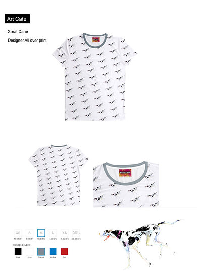 Great Dane all over print White T Shirt