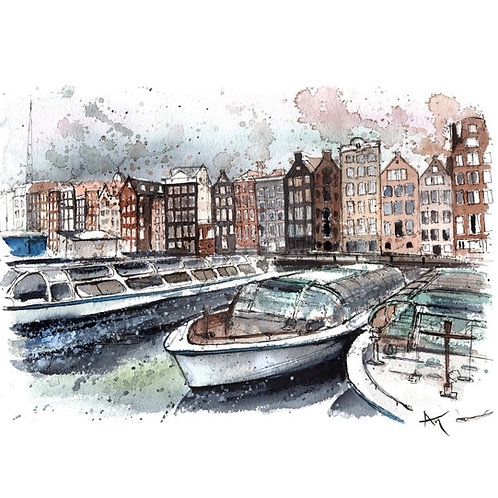 Amsterdam Boats - Original Painting