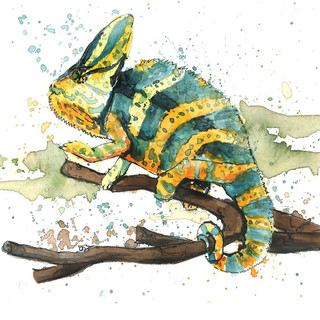 watercolor chameleon painting.JPG