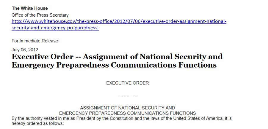 July 06, 2012Executive Order