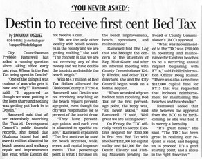 Destin Log story on Bed Tax Approval