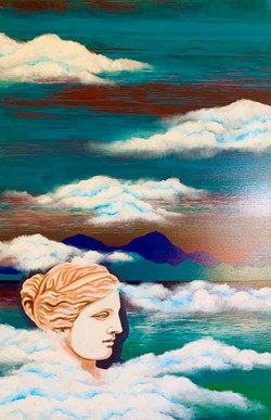 """""""Woman. Water. Mountains. Venus"""" 1 part of diptych"""
