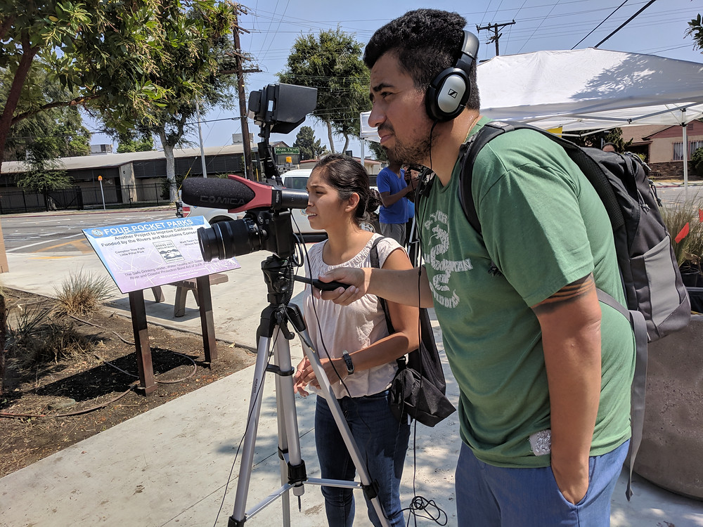 Digital Content Producer students Peter & Lucia shoot a story in Lynwood.