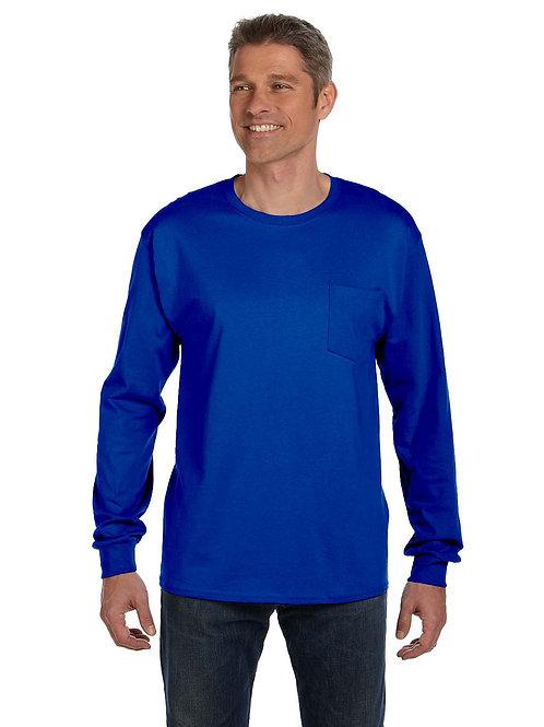 5596 Hanes Tagless® Long-Sleeve Pocket T-Shirt