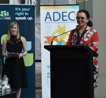 ADEC's Chair person Sophie Holmes addressing the crowd.