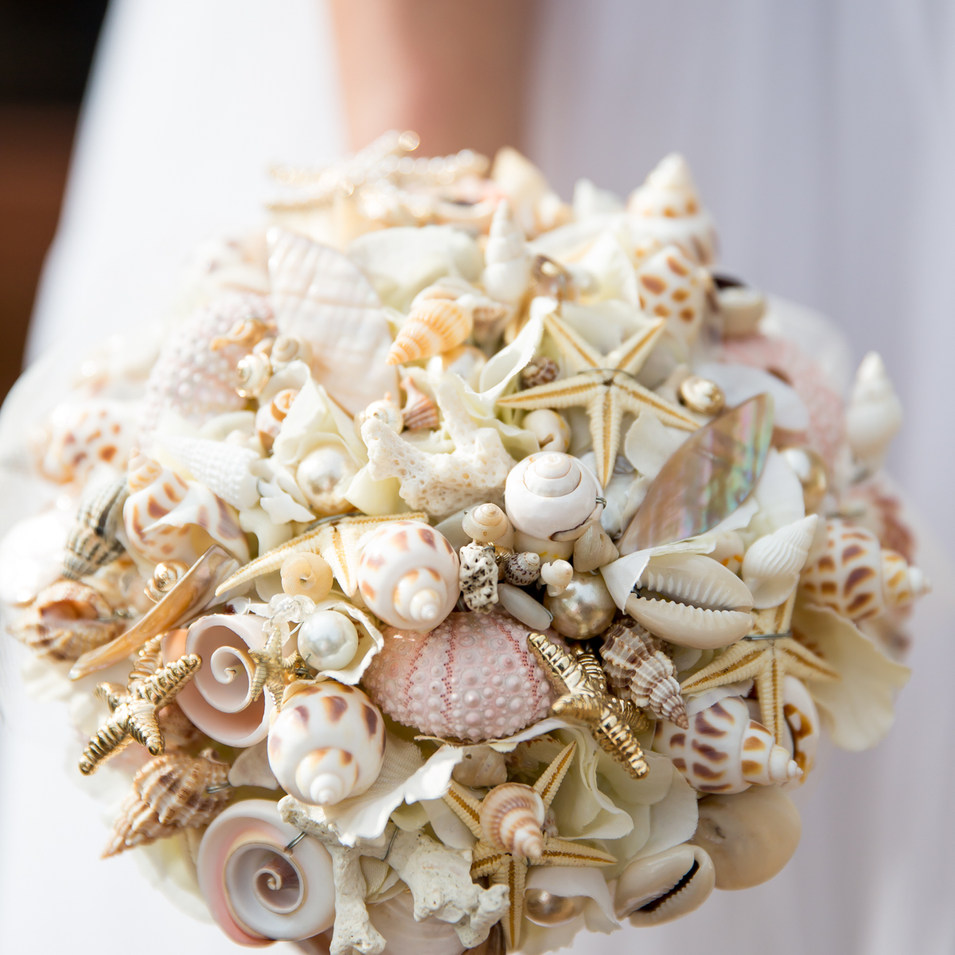 shell bouquet beach wedding