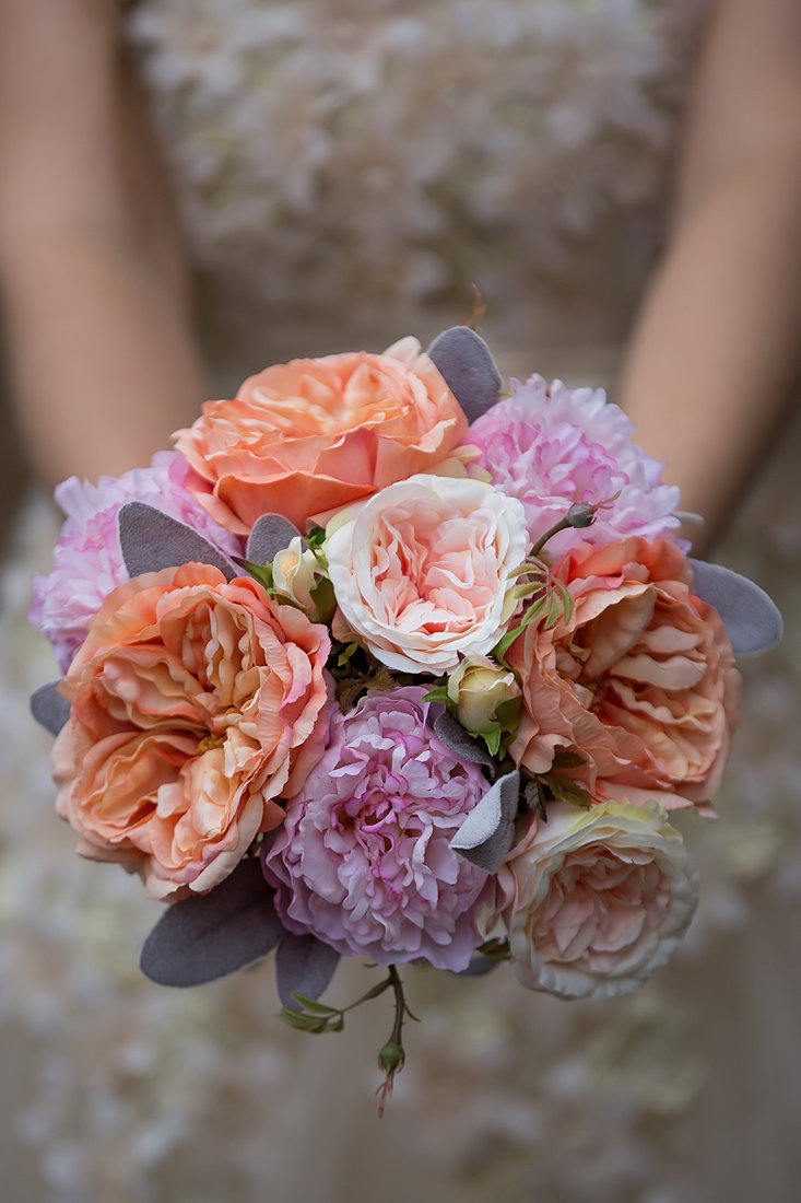 artificial rose and peony bouquet - Garden Rose And Peony Bouquet