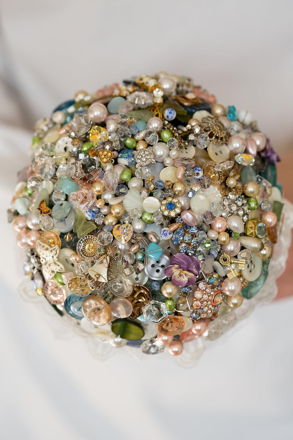 Vintage Bead Pearl Button Bouquet