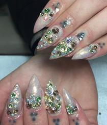 swarovski crystal acrylic nails