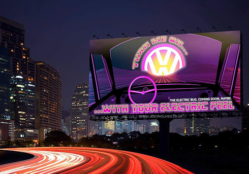 Vauxhall Beetle Electric Conversoin Advert Billboard over a motorway
