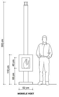 Woodchuck S mobiele, grote buitenkachel op hout met glas rondom