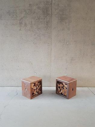 Woodchuck B - zitbankje met houtopslag in cortenstaal