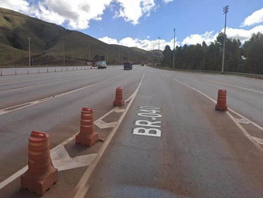 Trecho da BR-040 em Itabirito será interditado nesta terça-feira para ação de mineradora