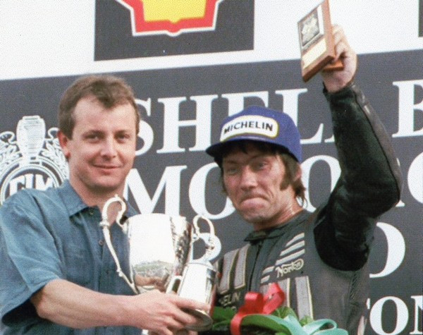 1991 Steve Webster presenting the Squib Burton Cup to club vice president Ron Haslam