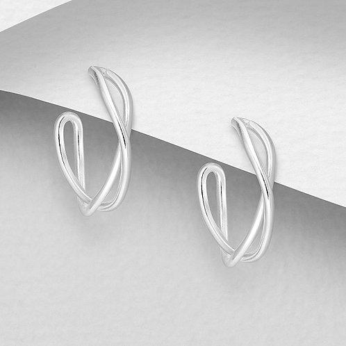 Wave Silver Hoops