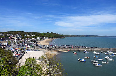 Saundersfoot Harbour and beach and villa