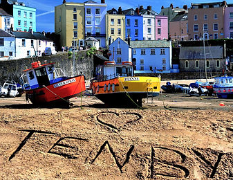 Tenby Harbour reflections yellow boata.j