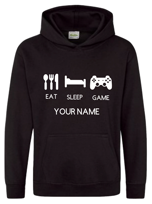 Personalised Eat,Sleep Gamer Hoodie