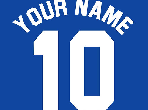 Football Shirt Name and/or Number S1 Curved