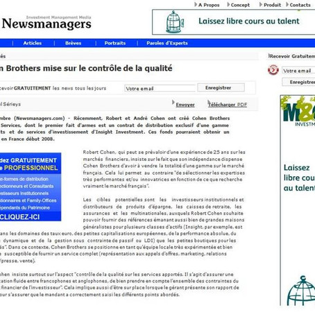 Newsmanagers​ French online news in asset management,​France, Sept 2007