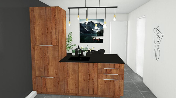 Projet modernisation cuisine - vue îlot
