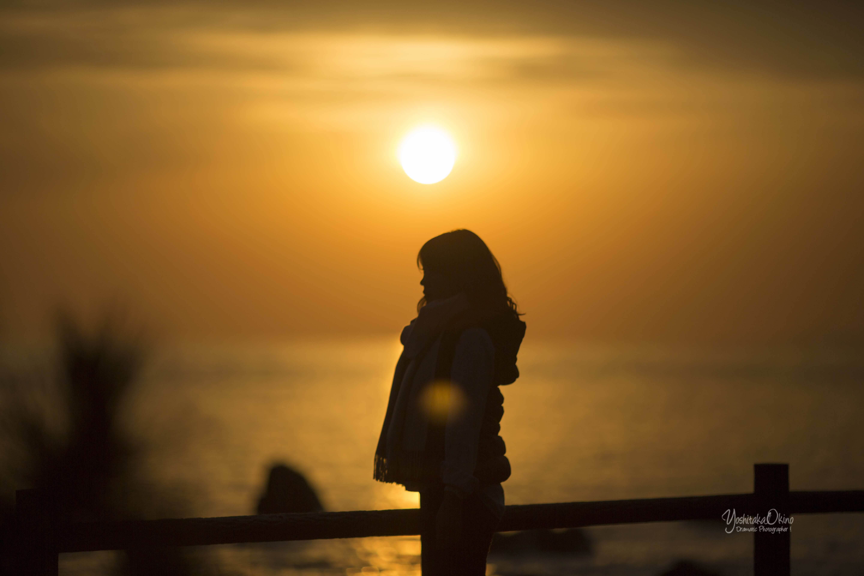 夕陽とシルエット