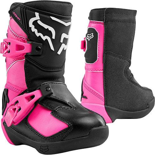Botas Moto Infantil Comp K Negro/Rosado Fox