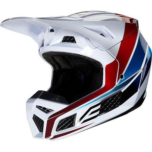 Casco Moto V3 Durven Blanco/Rojo/Azul Fox
