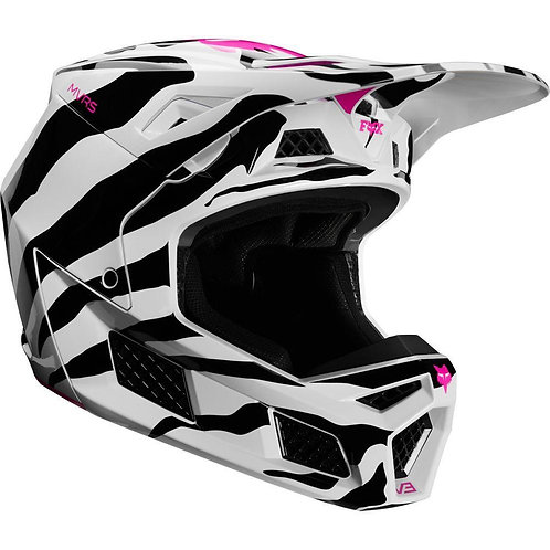 Casco Moto V3 Zebra Blaco Negro 2020 Fox