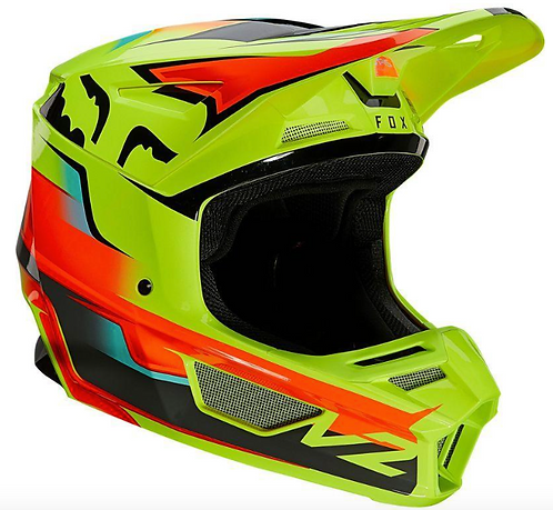 Casco Moto V2 Leen Amarillo Fox L