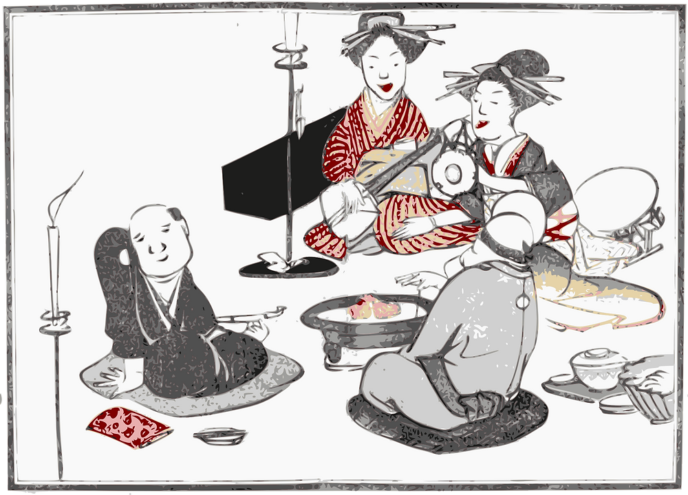 Karikatur von Geishas mit Gästen