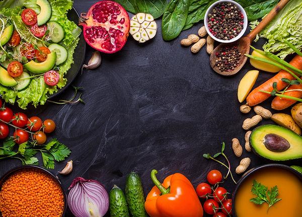 Vegan food and dishes. Pumpkin soup, sal