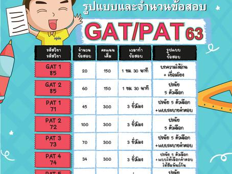 เผยรูปแบบและจำนวนข้อสอบ GAT/PAT เปิดรับสมัครสอบ 25 พ.ย. – 09 ธ.ค. 62 สอบจริง 22 – 25 กุมภาพันธ์ 63