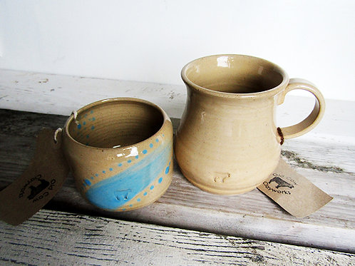 Farmhouse mug and sugar bowl