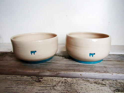 Old Cow Cereal Bowls in Turquoise