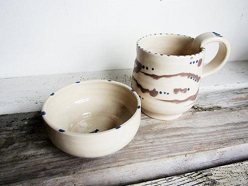 Hand painted Mug & Bowl set