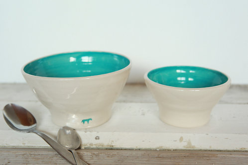 Old Cow Cereal Bowl with Sugar Bowl