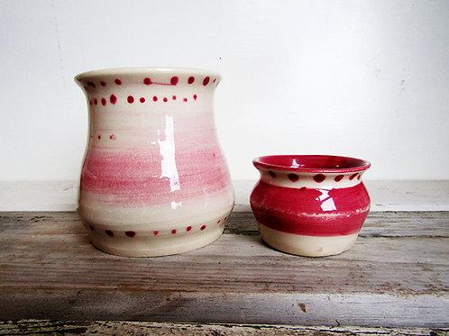 Hand Painted Brush Pot and Dip Bowl