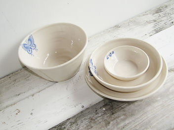 Stoneware Butterfly Bowls