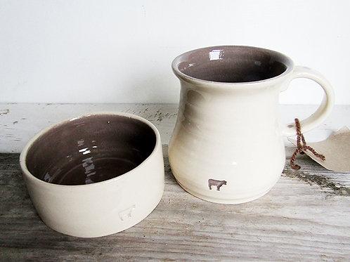 Old Cow Charcoal Mug & Bowl Set