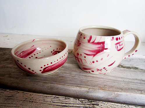 Hand painted Mug & Bowl set