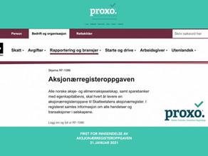 Proxo Regnskap hjelper deg med Aksjonærregisteroppgaven!