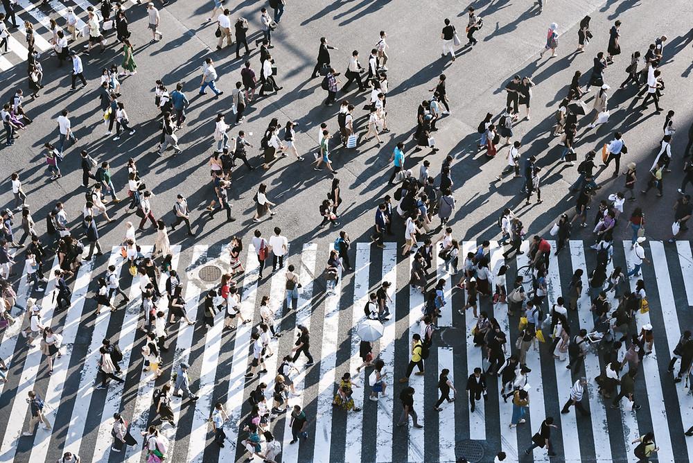 Birds eye view of pedestrian crossing