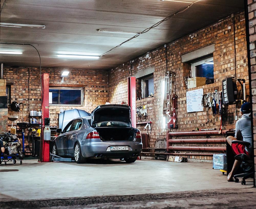 Car in home garage