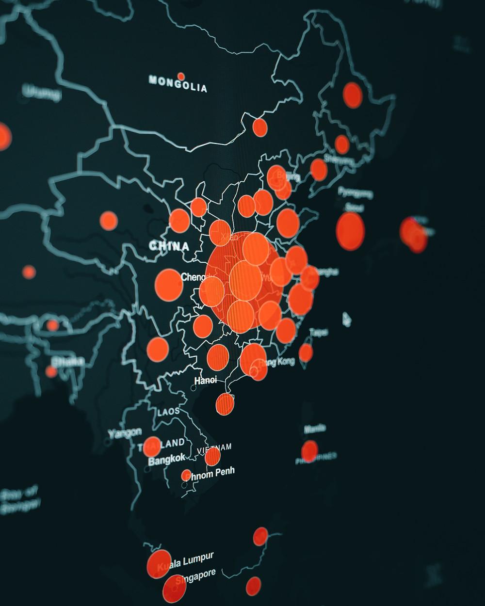 Corona heat map showing spread of disease