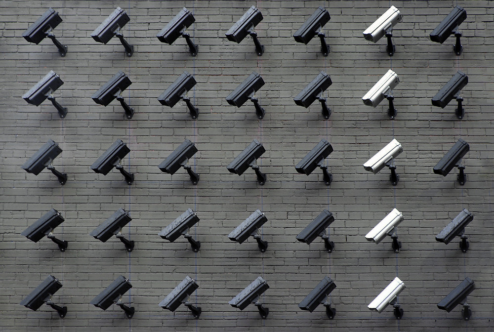 Wall mounted with multiple security cameras facing the same direction